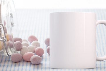 Easter Mug Mockup. White blank coffee mug to add your custom design or quote to.