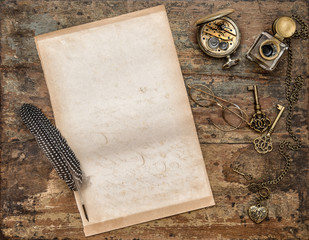 Used paper sheet vintage writing tools wooden background