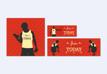 3 Illustrated Fitness Banners 1