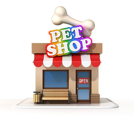 Pet shop 3d rendering