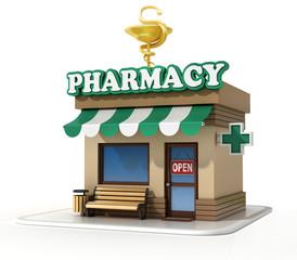 Pharmacy mini store 3d rendering