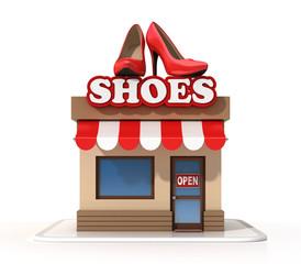 Shoe store 3d rendering