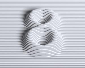 Linear 3d font number 8