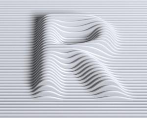 Linear 3d font letter R