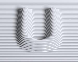 Linear 3d font letter U