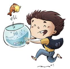 niño con pez y pecera