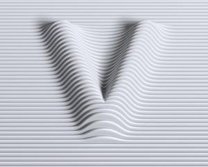 Linear 3d font letter V