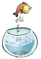 pez saltando en la pecera