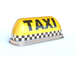 Taxi sign 3d rendering