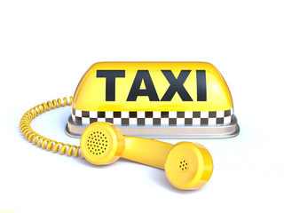 Taxi sign with telephone handset 3d rendering