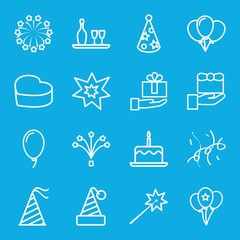 Set of 16 anniversary outline icons