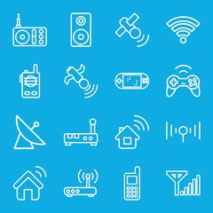 Set of 16 wireless outline icons