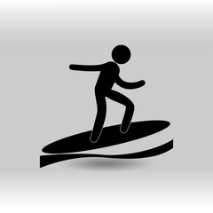 eps 10 vector Surfing sport icon. Summer sport activity pictogram for web, print, mobile. Black athlete sign isolated on gray. Hand drawn competition symbol. Graphic design clip art illustration