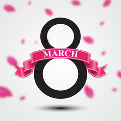 International Women's day background. Ribbon 8 March greeting card template. Vector illustration, eps10.