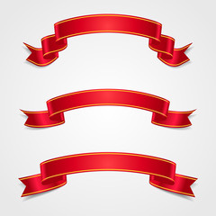 Set red and gold ribbon. Template holiday card. Vector, eps10.