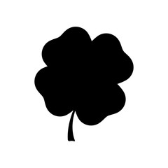 Four leaf clover black silhouette. Vector