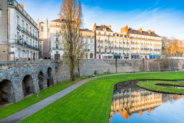 Medieval battlements in City of Nantes, France