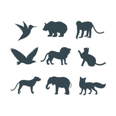 Wild animals jungle pets logo silhouette of geometric polygon abstract character and nature art graphic creative zoo triangle vector illustration.