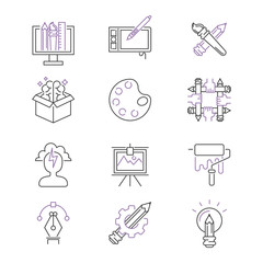 art icons set vector illustration design linear symbols artistic pictogram creativity button graphic collection thin symbol icon line flat isolated