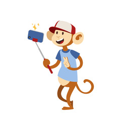Funny picture monkey photographer mamal person take selfie stick in his hand and cute animal taking a selfie together with smartphone camera vector illustration.
