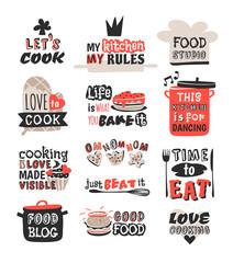 Estores personalizados para cocina con tu foto Food logotype restaurant vintage design cooking text phrases badge element label icon and hand drawn stamp retro template vector illustration.