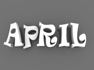 April sign with colour black and white. 3d paper illustration.
