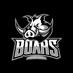 Furious boar sport club vector logo concept isolated on dark background. Web infographic team pictogram design.