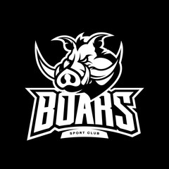 Furious boar sport club mono vector logo concept isolated on dark background. Web infographic team pictogram design.