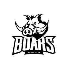 Furious boar sport club mono vector logo concept isolated on white background. Web infographic team pictogram design. Premium quality wild animal t-shirt tee print illustration.