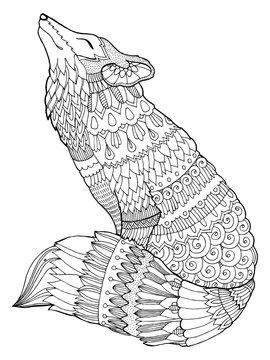 Fox coloring book vector illustration