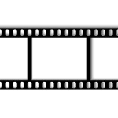 eps 10 vector vintage film strip frame isolated on white background. 35 mm width perforated emplty editable film, add any text, image. Profesional cinematorgrafy tool. Small format photos movie film