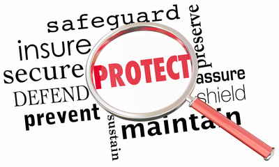Protect Secure Safeguard Word Collage Magnifying Glass 3d Illustration