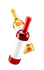 Flying bytulki isolated red and white wine. 3d illustration, 3d rendering.