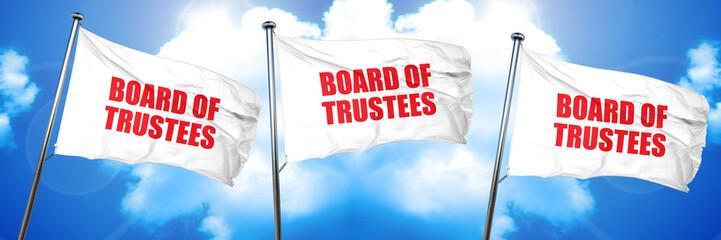 board of trustees, 3D rendering, triple flags