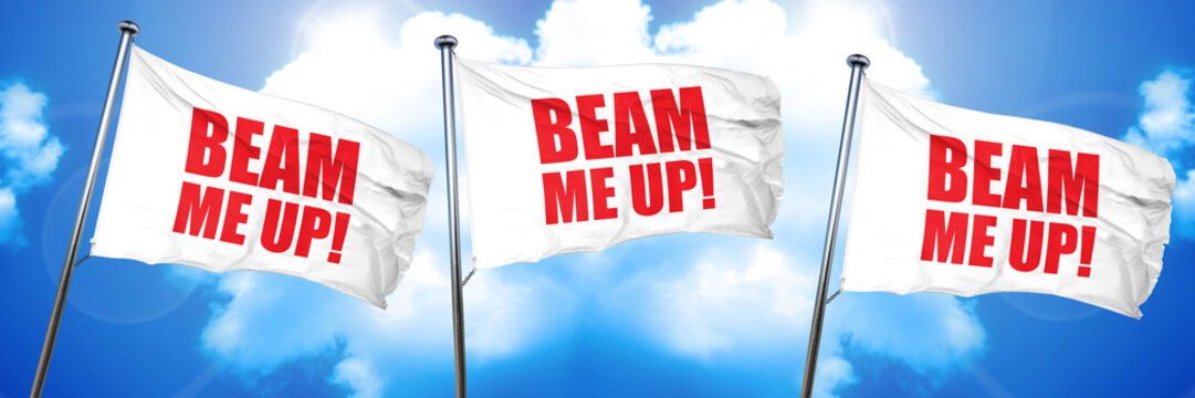 beam me up, 3D rendering, triple flags