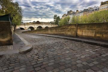 Cobblestone ramp to Seine River, Paris