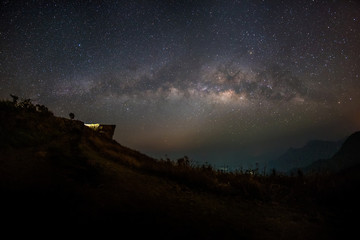 Milky Way galaxy, on the mountains.