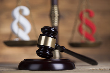 Paragraph sign, Wooden gavel barrister, legal system and justice concept