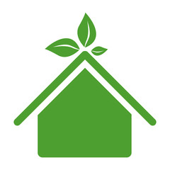green sticker house with leaves above the roof, vector illustraction design