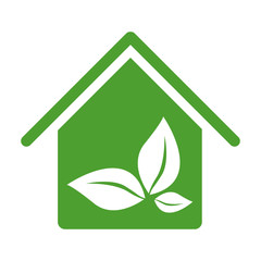 green house with leaves inside icon, vector illustraction design image