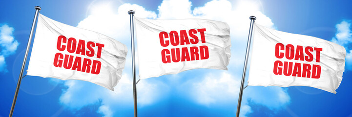 coast guard, 3D rendering, triple flags