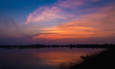 beautiful sunset, clouds at sunset, colorful sunset