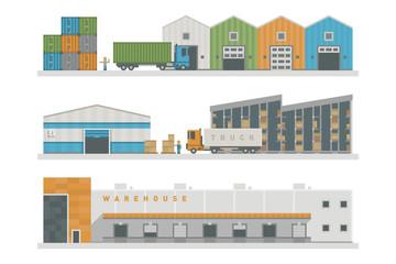 Warehouse logistic buildings vector illustration.