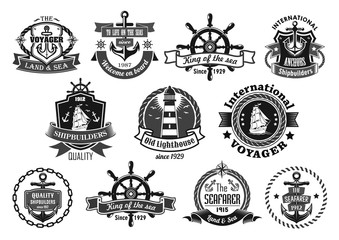 Sea emblem set with anchor, helm, sailing ship