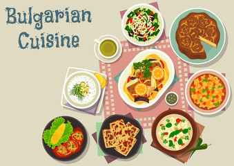 Bulgarian cuisine traditional lunch dishes icon