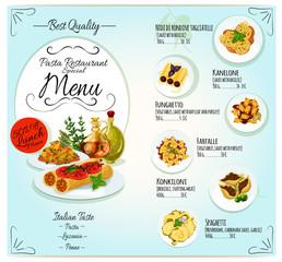 Italian pasta restaurant menu template design