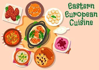 Eastern european cuisine dinner menu icon design