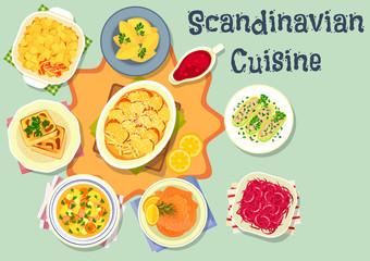 Scandinavian cuisine tasty dinner icon design