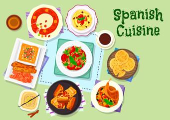 Spanish cuisine dinner menu with dessert icon