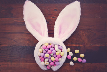 Easter bunny ears with candy eggs